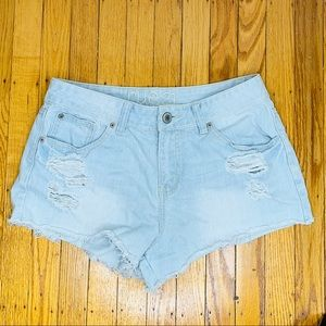Rue21 Jean Shorts Light Wash Distressed 9/10